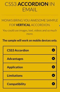 Accordéon en CSS3 intégré dans un email