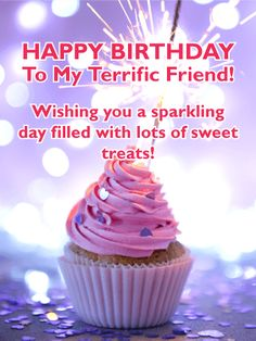Sparking Day! Happy Birthday Card for Friends: Add some excitement to your friends day with this spectacular sparkling cupcake birthday card! It features a dazzling purple background with twinkling lights that make this birthday card sensational! The cupcake displays perfect pink frosting and is surrounded by purple celebration confetti! Send this fantastic birthday card to your friend so you can wish them a sparkling day filled with sweet treats.
