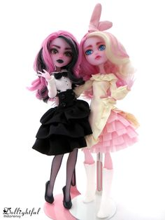 Jennifer and Katherine from Dollighful.storenvy.com #repaint #ooak #custom #monsterhigh #doll #clothes #faceup #draculaura