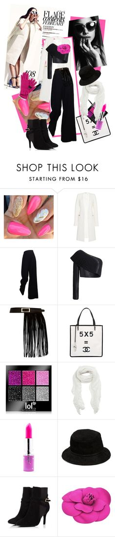 """""""Coat Outfit For Fall"""" by kari-c ❤ liked on Polyvore featuring Thierry Mugler, Balmain, River Island, Chanel, Subtle Luxury, Lime Crime, Alexander Wang and Echo"""