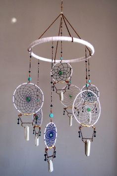 White Dream Catcher with Porcelain Crystals by TheSleepySilkworm, $175.00