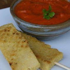 Palito de grão-de-bico com molho de tomate seco   Receita