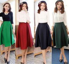 Vintage-Hepburn-High-Waist-Knee-Length-Swing-A-Line-Pleated-Ball-Gown-Midi-Skirt