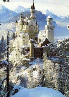 Neuschwanstein Castle in Bavaria, Germany. The palace was the inspiration for Disneyland's Sleeping Beauty Castle