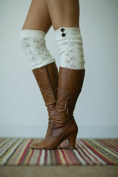 Ivory Knitted Stretchy Boot Socks Over the Knee