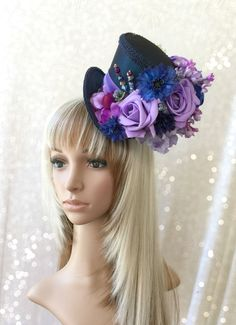 Mini Top Hat, Purple and Navy Flower Hat, Alice in Wonderland, Mad Hatter Hat, Steampunk, Tea Party Hat, Fascinator, Kentucky Derby Hat - pinned by pin4etsy.com