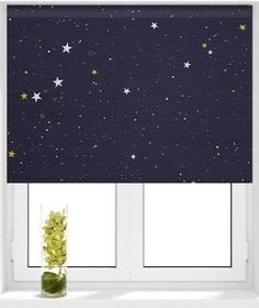Ashley's office --- Star Navy Roller Blind - could make this with glow-in-the-dark paint?