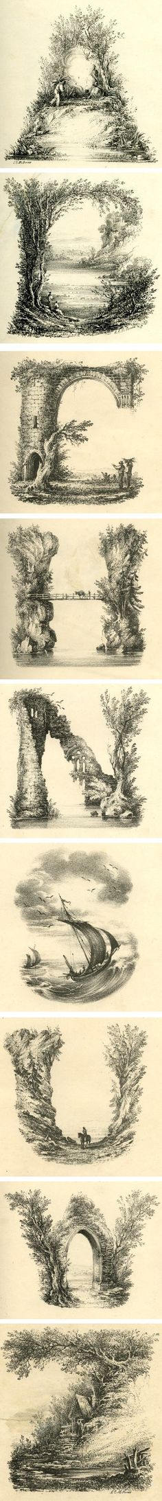 Landscape alphabet, drawn by artist L.E.M. Jones then printed. Early XIXth century.