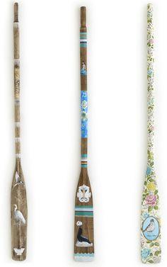 Fabulous oars from Leanne Culy Painted Oars, Hand Painted, Design Projects, Craft Projects, Craft Ideas, Oar Decor, Rustic Beach Decor, Boat Restoration, Paddle Boat