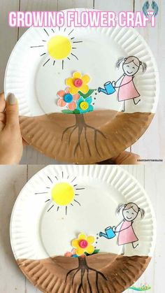 Growing flowers craft for kids - My Blog -  Growing Flowers Crafts For Children – If you have toddlers or preschoolers who are all about grow - #ArtHistory #Blog #craft #FamousArtists #flowers #growing #Kids #PinUpArt<br> Spring Crafts For Kids, Summer Crafts, Diy Crafts For Kids, Fun Crafts, Art For Kids, Kids Diy, Creative Crafts, Easy Toddler Crafts, Boat Craft Kids