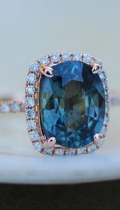 BLUE GREEN SAPPHIRE ENGAGEMENT RING. PEACOCK SAPPHIRE 3.92CT CUSHION HALO DIAMOND RING 14K ROSE GOLD