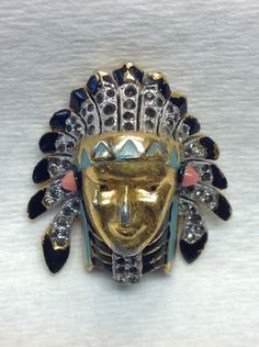 Alfred philippe Trifari Brooch Pin Clip. Vintage. Indian Chief