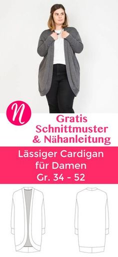 Kostenloses Schnittmuster für eine lässige Damenstrickjacke. Gr. 34 - 52. Geeignet für Strickstoffe, Sweatshirt, Jersey oder French Terry ✂️ Nähtalente - Das Magazin für Hobbyschneider/innen ✂️ Free sewing pattern for a slouchy cardigan for woman. Size 34 - 52. For knit fabrics, sweatshirt, jersey or french terry.