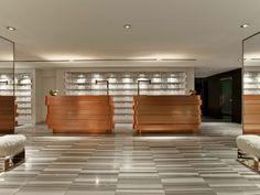 Meyer Davis — W Hotel Lakeshore - Hotels Design Architecture Hotel Reception Desk, Reception Desk Design, Reception Counter, Bar Counter, Lounge Design, W Hotel, Hotel Lobby, Architectural Digest, Hotel Design Architecture