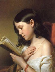 Lesendes Mädchen (Reading Girl), 1850. Franz Eybl (1806-1880). Oil on canvas. Österreichische Galerie, Vienna.
