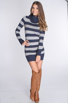 Cool weather is your absolute favorite, and as you stroll over dewy grass in this cozy in this sweater dress. Pair this knit piece with black skinnies and caramel boots for an ensemble that will greet the new season in joyful style  Featuring turtle neck, stripe print, long sleeves, fitted, and above the knee length.   55%Cotton 45%Acrylic