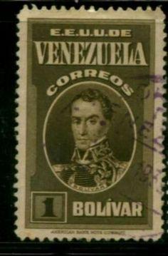 Estampilla con la imagen del Libertador Simón Bolívar. Correos de Venezuela.