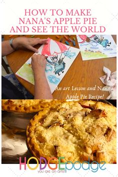 Enjoy a video art lesson of How to Make an Apple Pie and See the World - and Nana's apple pie recipe! A fun unit study time with chalk pastels and all things apple! You ARE an ARTiST! Cinnamon Pie, Fudge Pie, Pie Tops, Apple Pie Recipes, Unit Studies, Apple Slices, Chalk Pastels, World Recipes