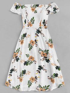 Pleated back floral print dressfor women-romwe cute outfits, hair accessori Cute Casual Outfits, Cute Summer Outfits, Pretty Outfits, Pretty Dresses, Spring Outfits, Beautiful Dresses, Casual Dresses, Short Dresses, Summer Dresses