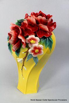 FZ02727 Franz Porcelain Peony Blossom large vase New Summer Introduction