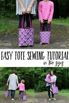 Free, easy tote bag pattern to sew See how easy it is to sew a simple tote bag with this sewing tutorial! Two sizes provided, making adorable mommy and me bags. Easy Sewing Projects, Sewing Projects For Beginners, Sewing Tutorials, Sewing Tips, Sewing Crafts, Bag Tutorials, Sewing Hacks, Bags Sewing, Craft Tutorials