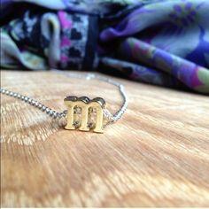 Custom Lowercase Initial M Pendant Necklace