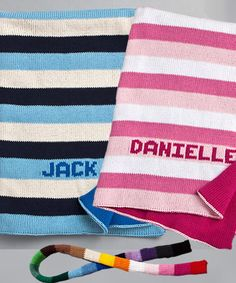 Find Custom Knit Blanket - Striped & Personalized with quantity discounts here, along with other wedding favors and shower gifts. Knitted Blankets, Baby Blankets, Blanket Gifts, Personalized Baby Shower Favors, Stroller Blanket, Processing Time, 3 Weeks, Shower Gifts, Baby Gifts
