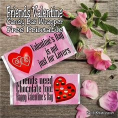 Valentine;s Day is not just for lovers!  Friends need chocolate too.  So give them a fun Valentine with this Friends Valentine candy bar wrapper free printable.  Wrap it around a 1.5 ounce candy bar for a yummy and unique Valentine card for all your friends.