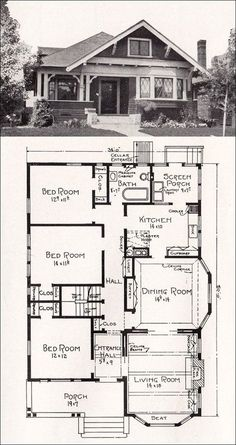 Plan No. R-856 c 1918 Cottage House Plan by A. E. Stillwell - vintage bungalows plans | Transitional Bungalow Floor Plan - #modernhomeplans