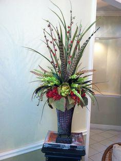 Feathers, Artichoke & Hydrangea silk floral arrangement by Greatwood Floral Designs.