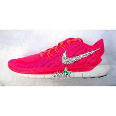 Women's Size 8.5 Blinged Pink Women's Nike 5.0 W Swarovski Crystals ($115) ❤ liked on Polyvore featuring shoes, black, sneakers & athletic shoes, women's shoes, swarovski crystal shoes, pink shoes, clear shoes, black pink shoes and sparkly shoes