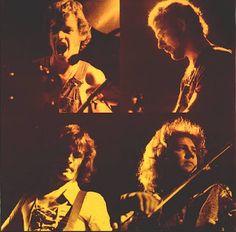Foto: King Crimson en la época Larks' Tongues In Aspic 1973 con Bill Bruford y John Wetton ( a la izquierda arriba y abajo) y David Cross (abajo a la derecha)