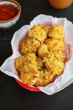Zucchini Parmesan Crusted Chicken Nuggets | halfbakedharvest.com