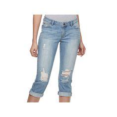 Women's Jennifer Lopez Ripped Capri Jeans, Size: 10, Blue Other