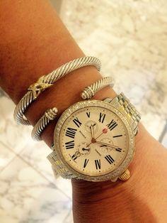 X David Yurman bracelet and cable classics bracelet with diamonds. Michele Serein Diamond Two Tone Gold watch. #davidyurman #michelewatch