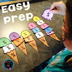 Free Equivalent Fractions Ice Cream Match – My kids love this activity in our centers. Teaching Fractions, Math Fractions, Multiplication, Dividing Fractions, Teaching Math, Fraction Activities, Math Activities, Fraction Games, Math Games