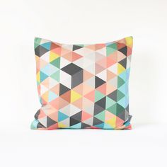 Light Gray Geometric Pillow Cover in Pink Gray Coral Mint by Nirwa