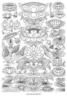 47 ideas flowers lotus drawing water lilies for 2019 Zentangle, Lotus Drawing, Drawing Flowers, Kerala Mural Painting, Chinese Patterns, Tibetan Art, Lotus Design, Desenho Tattoo, Thai Art