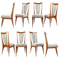 Set Of 8 Italian Dining Chairs In The Manner Paolo Buffa