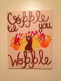 Thanksgiving canvas handprint art