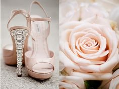 Blush wedding shoes by miu miu with an Art deco feel on the heel of the shoe