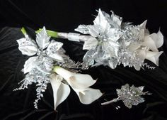 4 piece Silver winter wedding bouquet and by ChurchMouseCreations, $90.00
