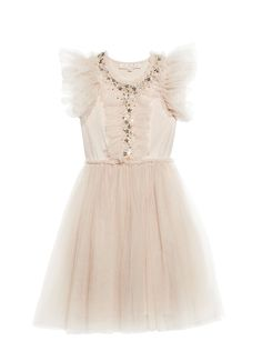 With a trail of sequin stars, this touch of ruffle in the capped tulle sleeves and body is so charming and sweet! - Color: Cookie - Medium length tulle skirt with cotton lining - Cotton jersey bodice