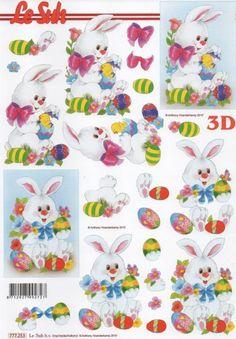 Feuille 3D lapin Pâques et oeuf couleur  http://fournitures-loisirs.les-creatifs.com/feuilles-3d.php?refer=Lapin-Paques-3D Feuilles à découper motif lapin de Pâques et oeufs colorés pour vos albums de scrapbooking, vos cartes de fêtes ou carton d'invitation Format A4 21 cm x 29,7 cm pour réaliser des tableaux 3D  Pour la réalisation de tableaux 3D :
