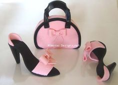Fashion Purse and shoe cake toppers. Lovely set for a special birthday cake..
