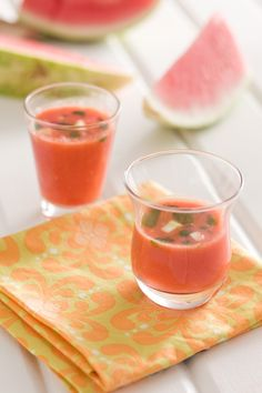 Watermelon Gazpacho with Herb Oil