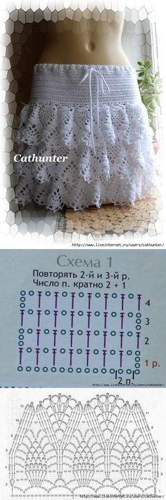 Белая юбочка крючком