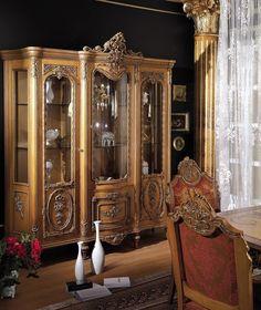 italian wooden furniture. italian furniture style, veronica showcase 3 door, made of mahogany wood. wooden