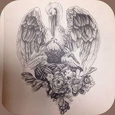Pelican in her piety #tattoo #tattoos #pencil #pelicanpiety #skincraft