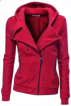 Amazing red colour warm jacket for fall and winter .